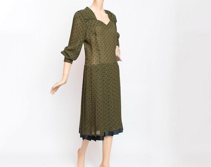 Vintage green dress polka dot dress dead stock vintage