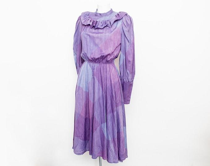 Plaid dress NOS vintage purple blue