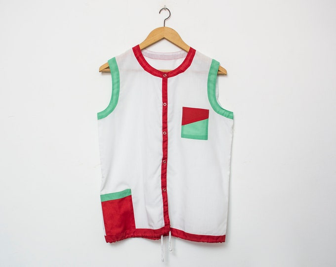 80's White red green blouse NOS Vintage Size S