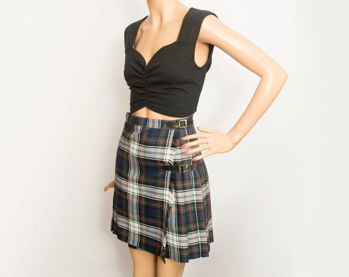 NOS Vintage Pleated plaid mini Skirt size S