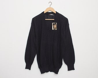 Sweater 90s vintage black V neck deadstock