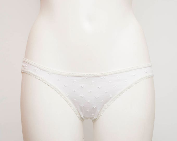 vintage white panties cotton deadstock low cut eyelet embroidery