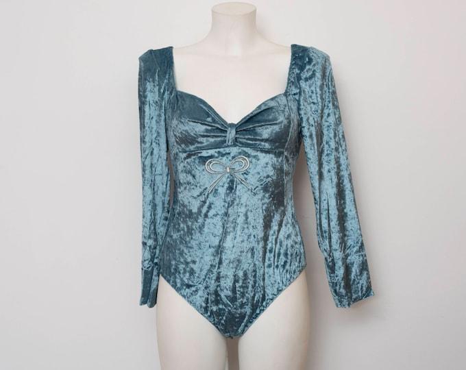 NOS vintage 90s blue velvet bodysuit top long sleeve size  S