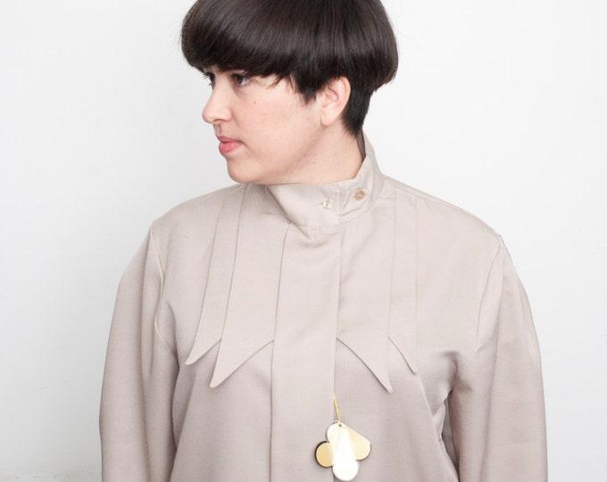 80's Grey blouse NOS Vintage Size L