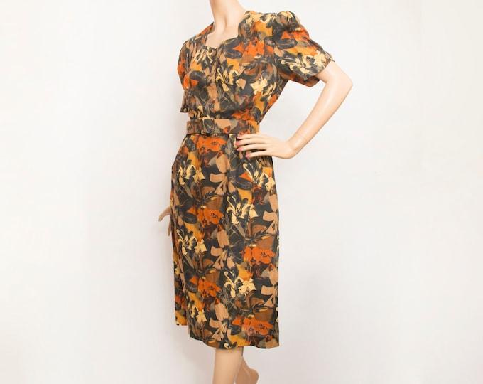 80s Vintage floral pencil dress  dead stock brown orange