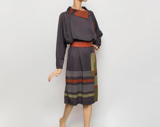 80s Vintage grey red dress deadstock