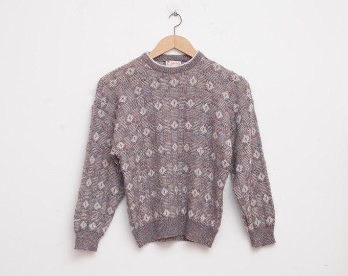 sweater 80s NOS vintage sweater grey multicolor