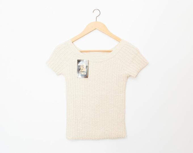 NOS vintage 90s knit sweater ribbed beige