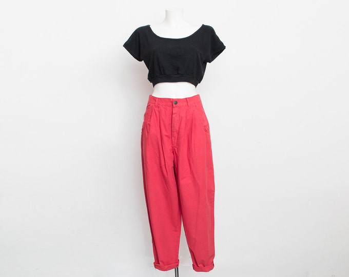 NOS Vintage 90's red pants high waist slowchy trousers size W29