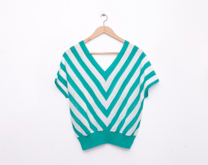 NOS vintage 80s stripped green white knit top sweater