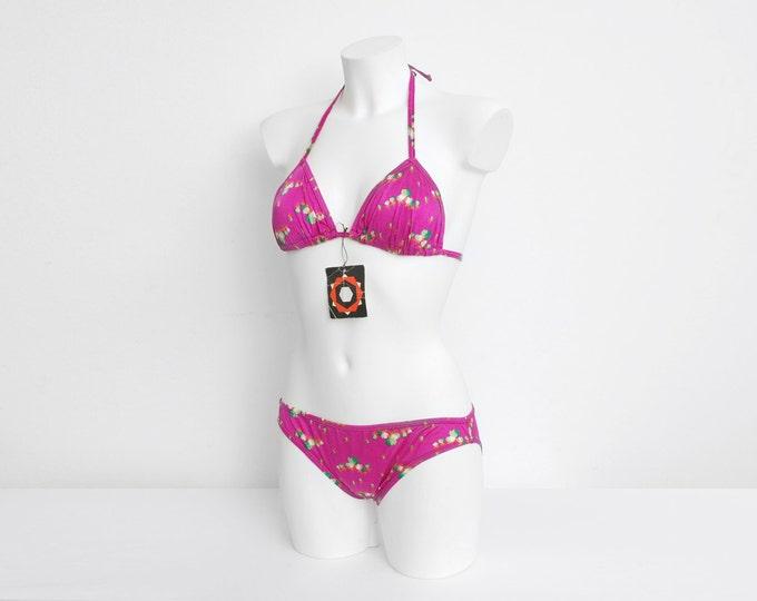 On Sale NOS Vintage bikini Size S Hot pink floral 70s