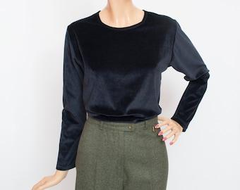 Vintage navy blue velour sweater deadstock