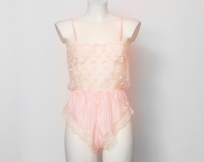 pink teddy lace dead stock Vintage