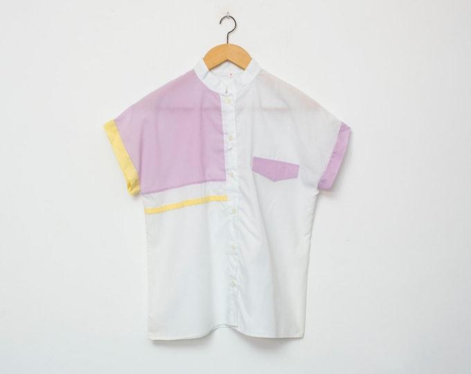 80's White purple blouse NOS Vintage Size S