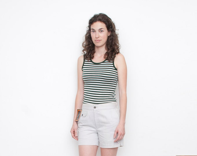 GREEN and white striped sleeves tank NOS vintage size XS / S / M
