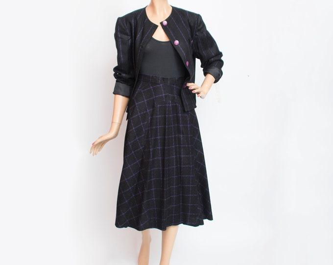 Vintage dead stock purple black jacket and skirt set wool