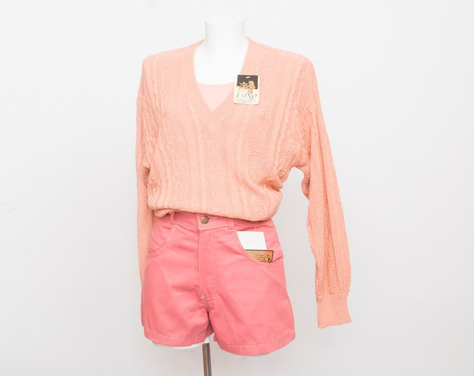 Dead stock Vintage Denim Shorts pastel pink high waist Size M