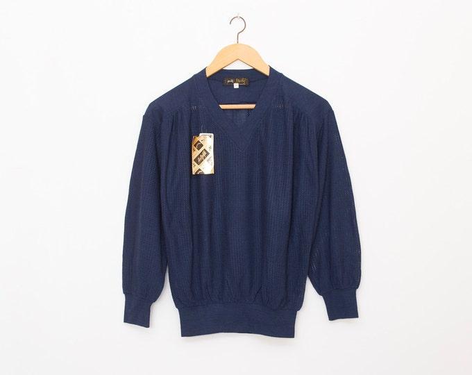 sweater 70s NOS vintage blue sweater sport