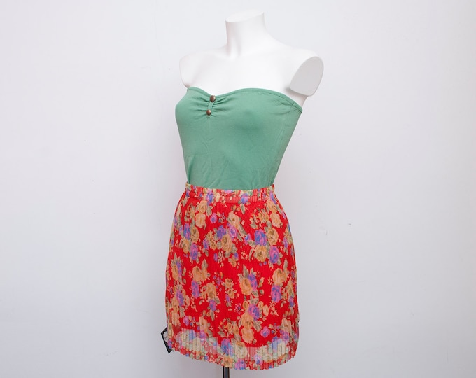 floral chiffon pleated Skirt NOS Vintage red size S