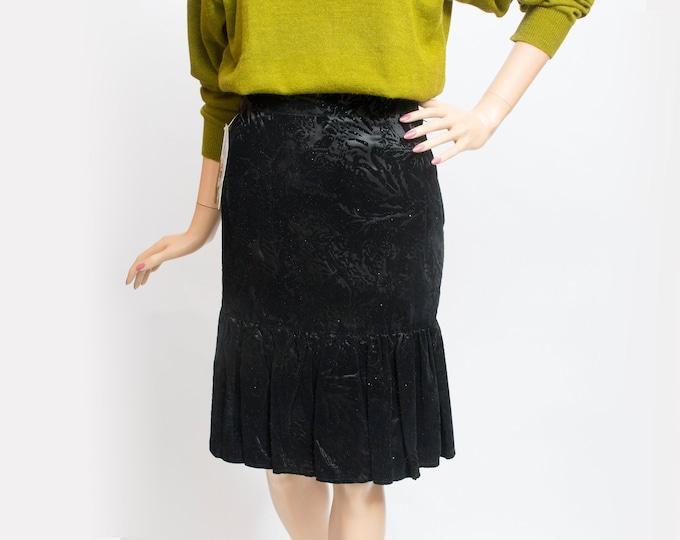 NOS Vintage 80s black textured rufled skirt
