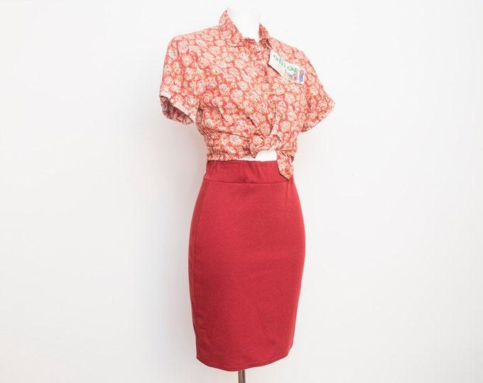 NOS Vintage dark red tube Skirt size S cotton jersey