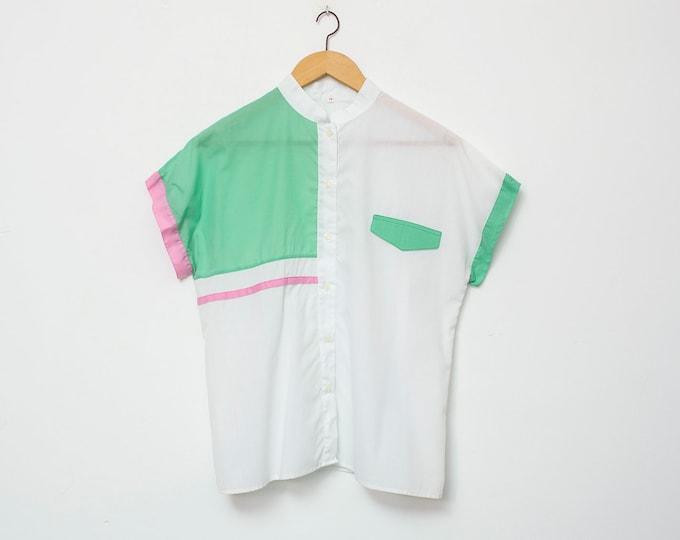 80's White green blouse NOS Vintage Size S