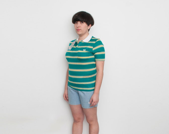 Dead stock  vintage striped green polo shirt  yelow white stripes