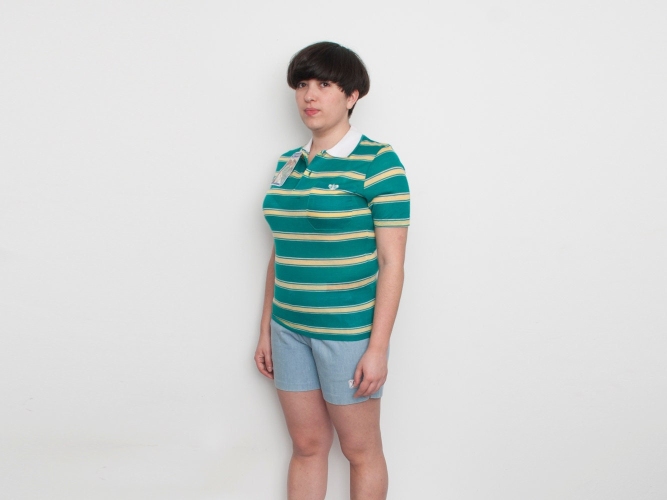 Dead stock vintage striped green polo shirt yelow white stripes