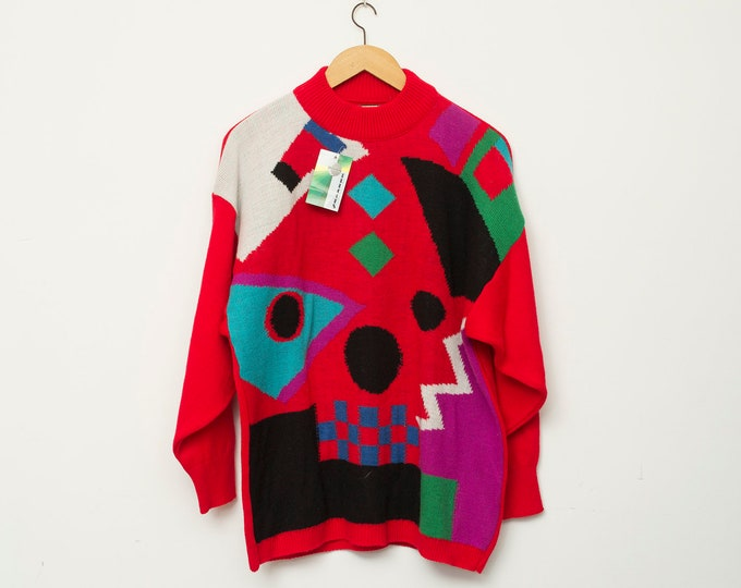 Sweater NOS vintage red geometric sweater