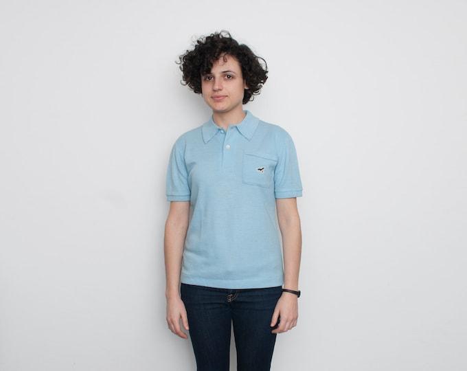 60's Blue Polo Shirt with tiny seal logo NOS vintage