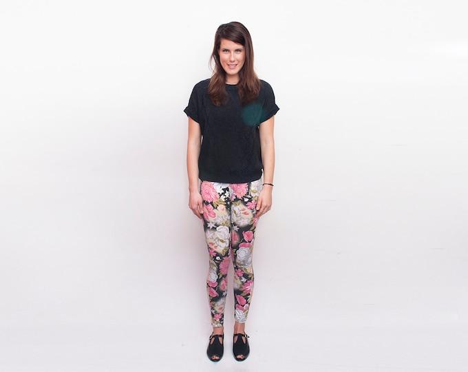 NOS Vintage floral 90's leggings pants trousers size S M