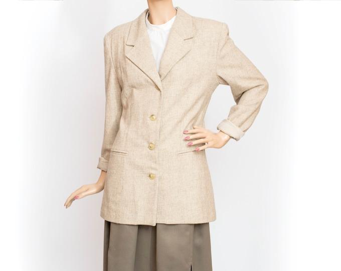 80s NOS vintage wool jacket coat beige