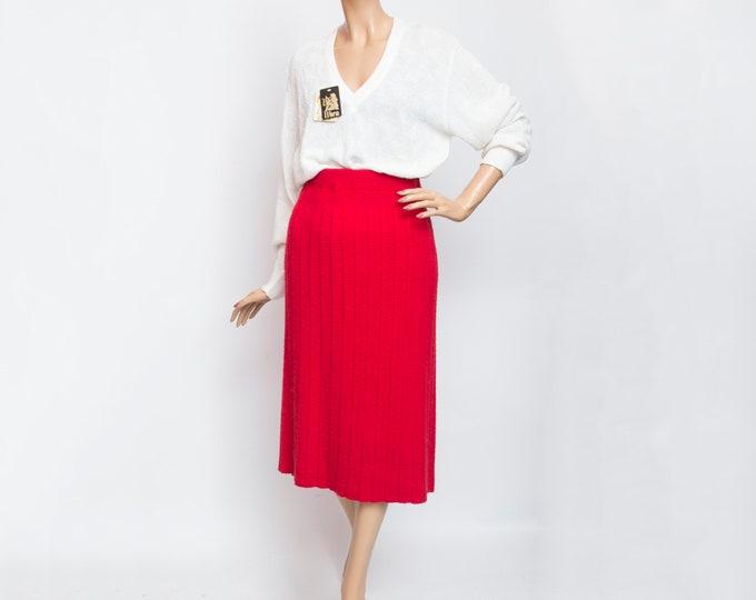 red wool midi Skirt NOS Vintage
