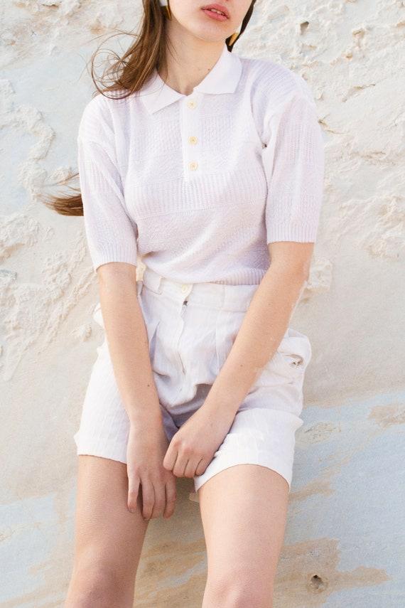 Shorts Vintage bermuda white linen vertical lines