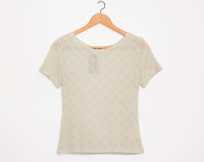 NOS vintage knit sweater beige grey