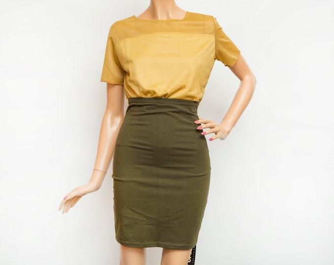 NOS Vintage dark green tube Skirt size S cotton jersey