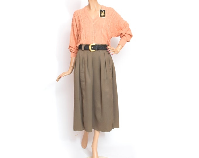 NOS Vintage brown long Skirt with belt