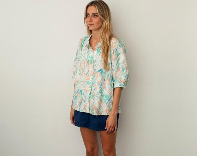 vintage blouse Multicolor pastel strokes NOS Vintage