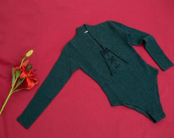NOS vintage 90s green bodysuit top long sleeve
