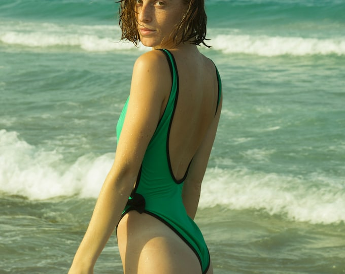 swimmsuit 90s highcut NOS Vintage green and black
