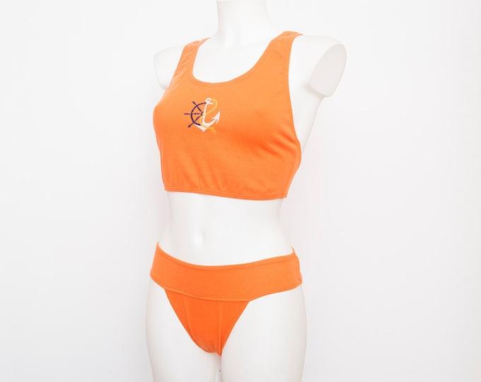 90s bikini ribbed cotton NOS Vintage orange deadstock