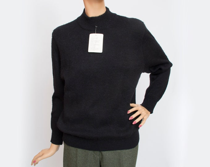 Vintage wool black sweater deadstock
