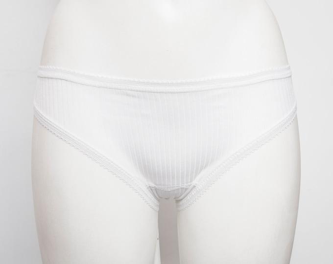 White vintage panties deadstock low vertical stripes