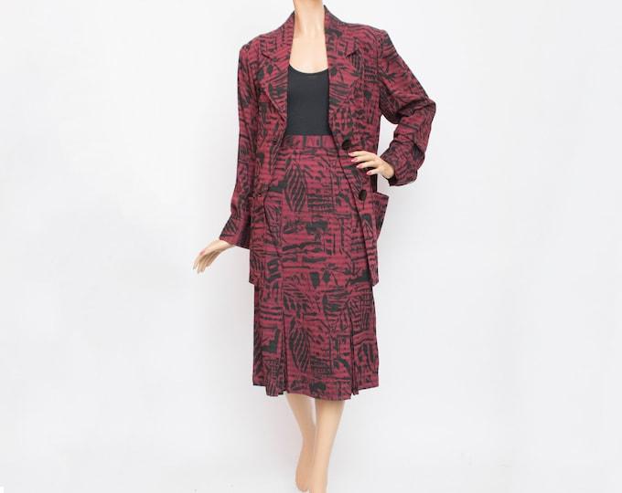 Vintage dead stock 80s  red black jacket and skirt set