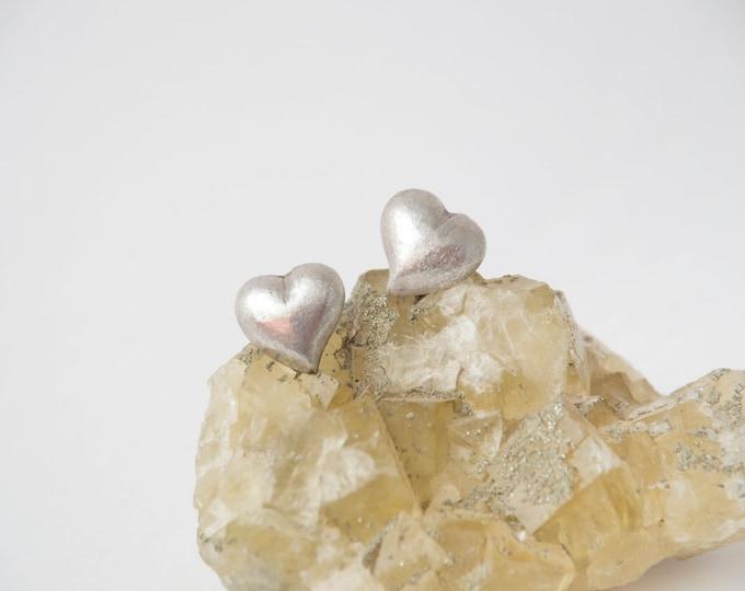 Vintage earings silver hearts deadstock