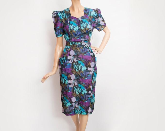 80s Vintage floral pencil dress  dead stock blue purple
