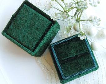 Samt Ring Box - Smaragdgrün, Rubinrot, Saphir blau, Amethyst lila, weiß schwarz Hochzeit Ring-Box