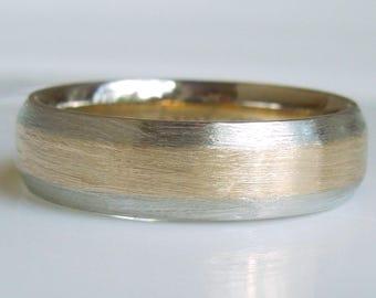 14Kt Gold Wedding Band 2 Tone Brushed Finish Yellow and White Gold - Handmade