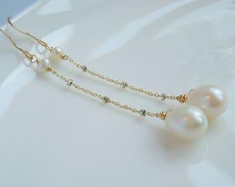 Lange Ohrringe - weiße Zuchtperle Perle Ohrhänger Gold gefüllt und Sterling Silber