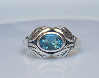 London Blue Topaz Sterling Silver Ring - Natural Gemstone Leaf Detail - December Birthstone Jewely